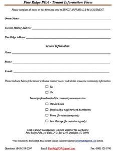Tenant Information Form